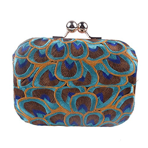 Women Peacock Embroidery Day Clutch Lady Floral Purse Totes Chain Patry Handbag Evening Bag (Peacock 1)