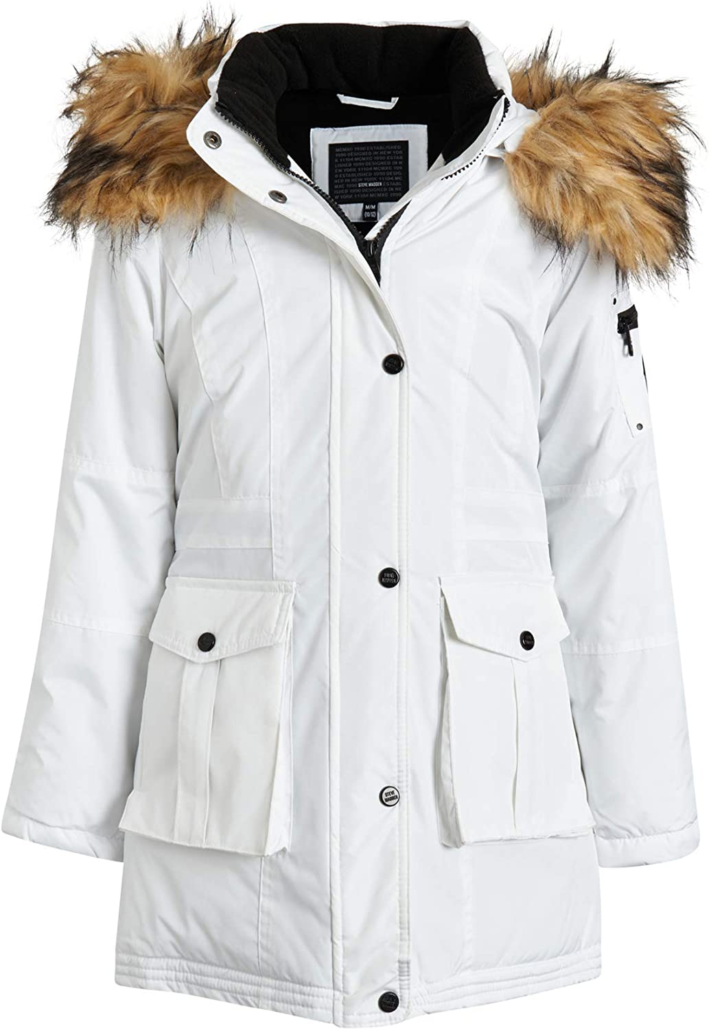 Steve Madden Girls Heavyweight Durable Winter Parka Expedition Jacket with Fur Trimmed Hood