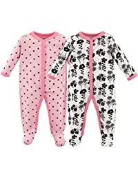 Baby Cotton Snap Sleep and Play, Floral 2 Pack, 0-3 Months