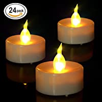 Tea Lights, Flameless LED Tea Lights Candles, Warm Amber, Ideal for Wedding, Party , BBQ , Holidays and Father's day gift, Pack of 24