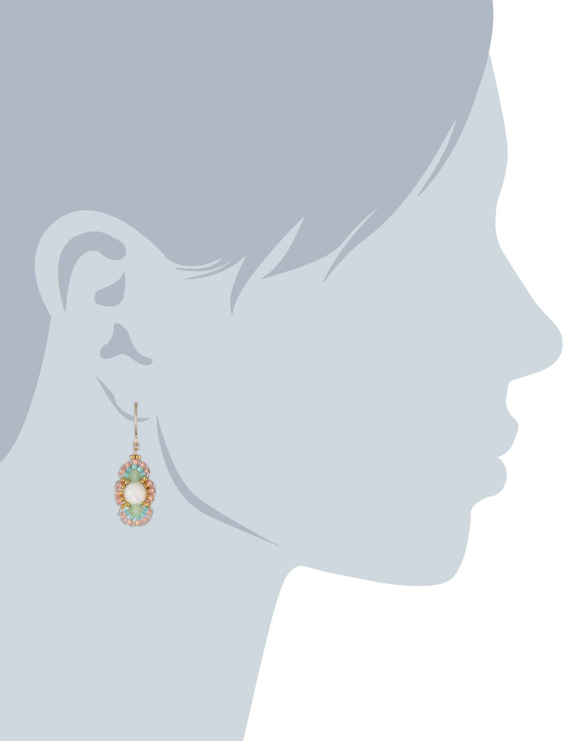 Miguel Ases Prehnite and Mother of Pearl Oval Drop Earrings, 1.35'' by Miguel Ases (Image #2)