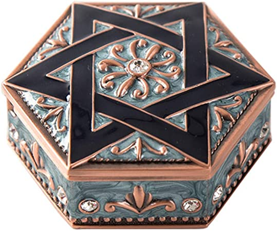 AITELEI Vintage Hexagonal Star Tallado Cofre del Tesoro Caja Caja de Metal Joya Anillo de aleación de Zinc Pendientes Collar Organizador Joyería Antigua Caja de Regalo Caja de Regalo: Amazon.es: Hogar
