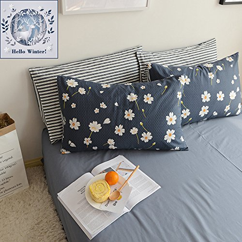 BuLuTu Cotton Daisy Print Bed Pillowcases Set of 2 Queen Navy Floral Kids Pillow Covers Decorative Standard For Kids Adults Envelope Closure End (2 Pieces,20