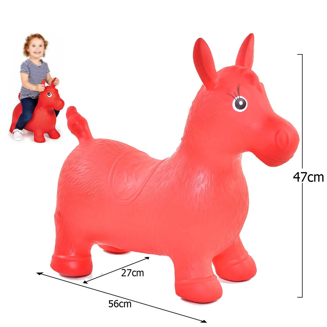 JJOnlineStore - Kids Boys Girls Animal Space Hopper Happy Inflatable Soft Horse Ride on Bouncy Soft Play Toys Bouncing Exercise Game (Green)
