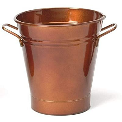 Houston International 8135E GC 7-Inch Steel Planter, Glazed Caramel : Galvanized Planter : Garden & Outdoor