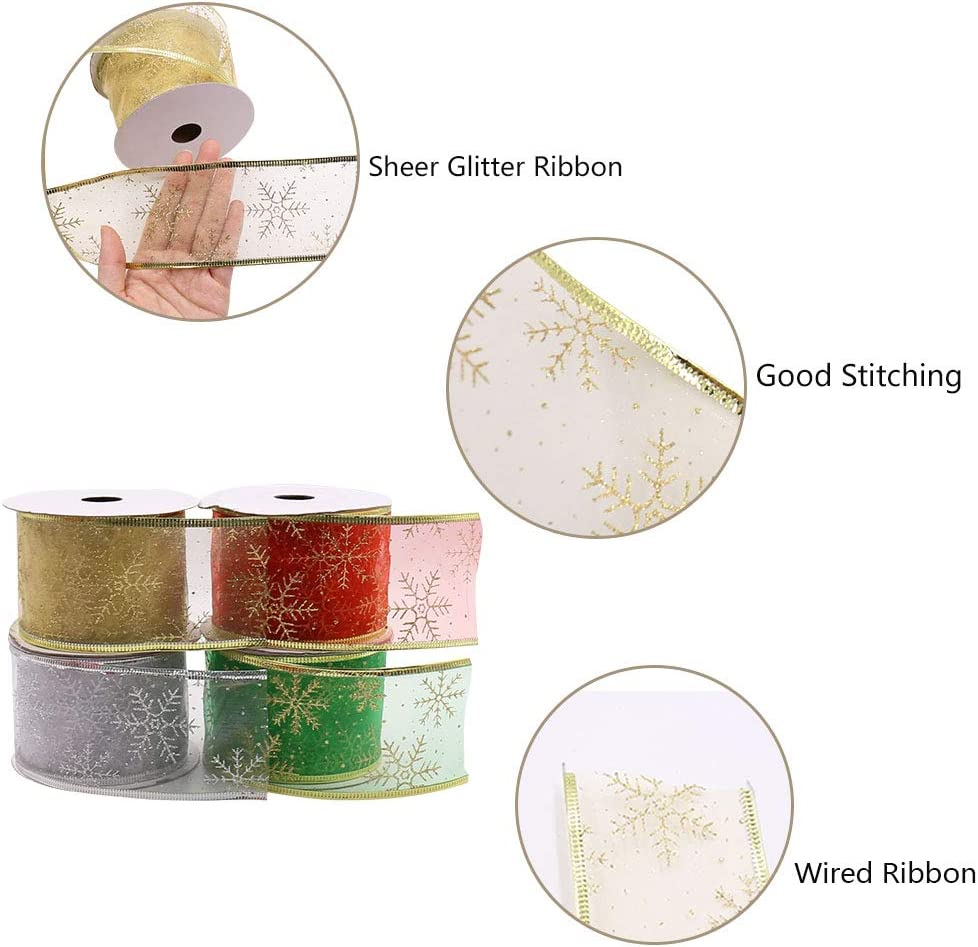 Christmas Tree Decoration or Gift Wrapping 2-1//2-Inch by 15-Yard Isbasa 60 Yards Wired Christmas Ribbon 4 Colors Snowflake Organza Ribbon Sheer Glitter Ribbon 4 Rolls