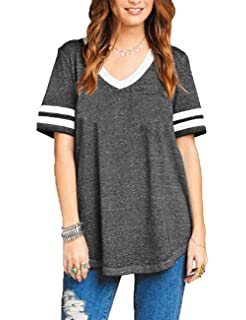 7c9806c1ff00 Sweetnight Womens Summer Short Sleeve Baseball Tee Color Block Loose Sport  T Shirt Casual Tunic Tops