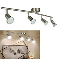 LED Ceiling Spotlights for Kitchen, Eye-Care Ceiling Spot Lights Bar for Bedroom Modern Chrome Rotatable Display Lighting 4 x 3 W GU10 Bulbs Warm White [Energy Class A++]