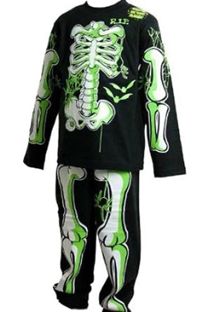 Childrens Brillan en el Oscuro Esqueleto Pijamas/Halloween Disfraces Traje Negro con Verde/Blanco Bones 3 – 4 5 – 6 7 – 8 9 – 10