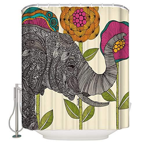Vandarllin Waterproof Fabric Polyester Shower Curtains Liner Elephant 60 x 72 Inch