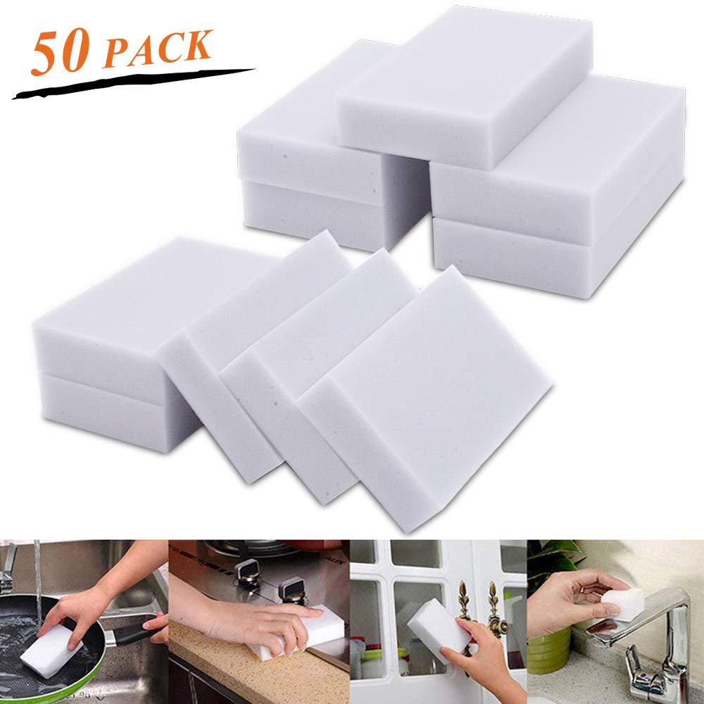 Gray Bathroom Kitchen Wall Cleaner Floor Eraser Sponge for All Surface Chemical Free Pack of 50 Magic Eraser Sponges Melamine Foam Cleaning Pad Baseboard STARVAST Magic Cleaning Sponge