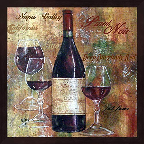 - Napa Valley Pinot Lettered by Jamie Carter Fine Art Print with Wood Box Frame and Glass Cover, 15 x 15 inches