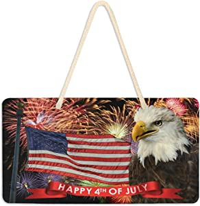 Welcome Sign Front Door Decor - Fireworks July 4 with American Flag and Bald Eagle 6 X 11 inch Home Sign Home Decoration Hanging Door Sign Farmhouse Decorations for Home Classroom