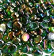 Creative Stuff Glass - 3 Lb - Green Iridized Glass Gems - Vase Fillers (14-16mm, Approx. 1/2\
