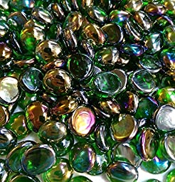 Creative Stuff Glass - 5 Lb - Green Iridized Glass Gems - Vase Fillers (14-16mm, Approx. 1/2\