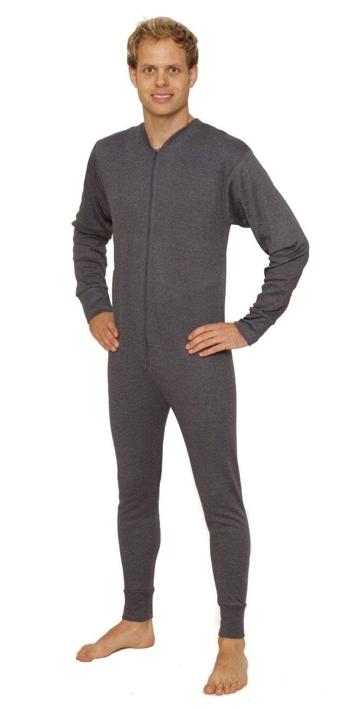 Octave 2 Pack Mens Thermal Underwear All in One Union Suit/Thermal Body Suit (Large: Chest 40-42 inches, Charcoal)