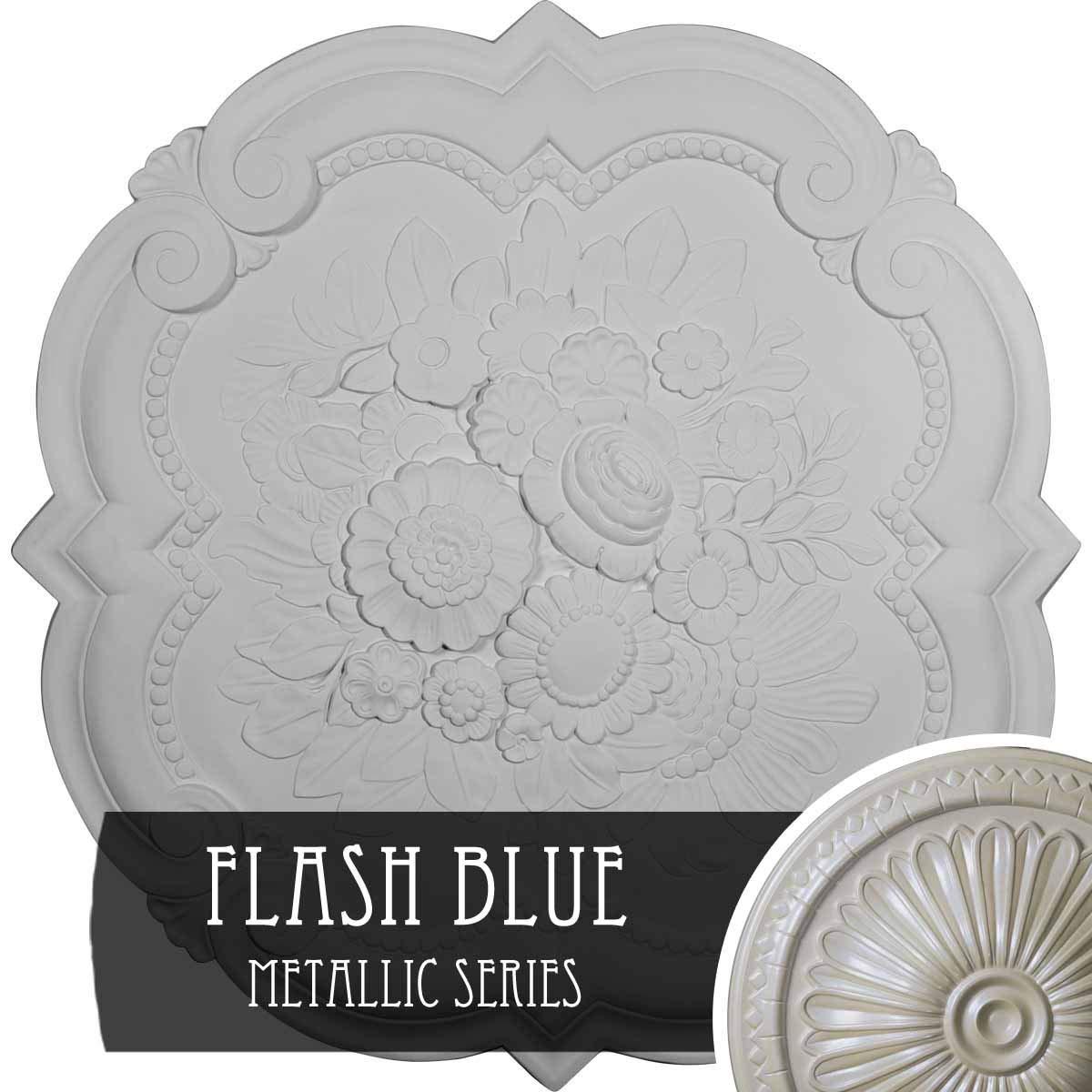 Ekena Millwork CM24VIFBS 24-3/8'' x 1'' Victorian Ceiling Medallion, Flash Blue