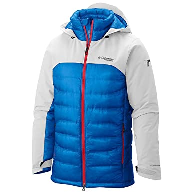 Columbia Mens Heatzone 1000 Turbodown Hooded Jacket Medium White Hyper  Blue Bright Red 0deb5d5eea