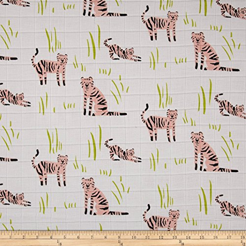 TELIO Organic Muslin Double Gauze Tiger Fabric by the Yard, White