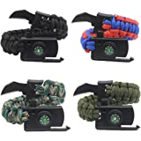 Aueye Survival Bracelet, Paracord Bracelet,Outdoor Knife,Outdoors Survival Gear with Compass Fire Starter and Whistle Emergency Survival Kit