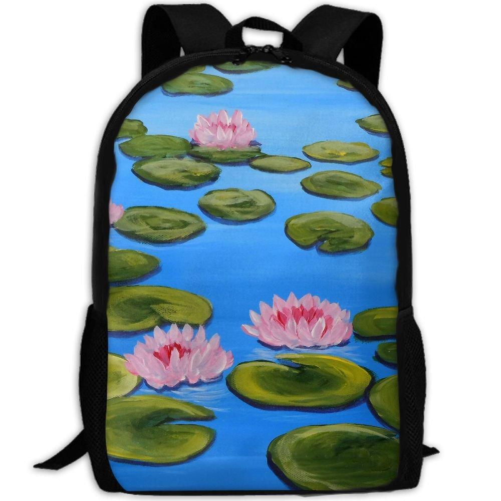 subensm Lily Lotus Pond Painting Man & Womanバックパックデイパックフィットアウトドアバックパック旅行、ハイキング、キャンプ&カジュアル、大学、学校、ブックバッグ B07DR7V9XC