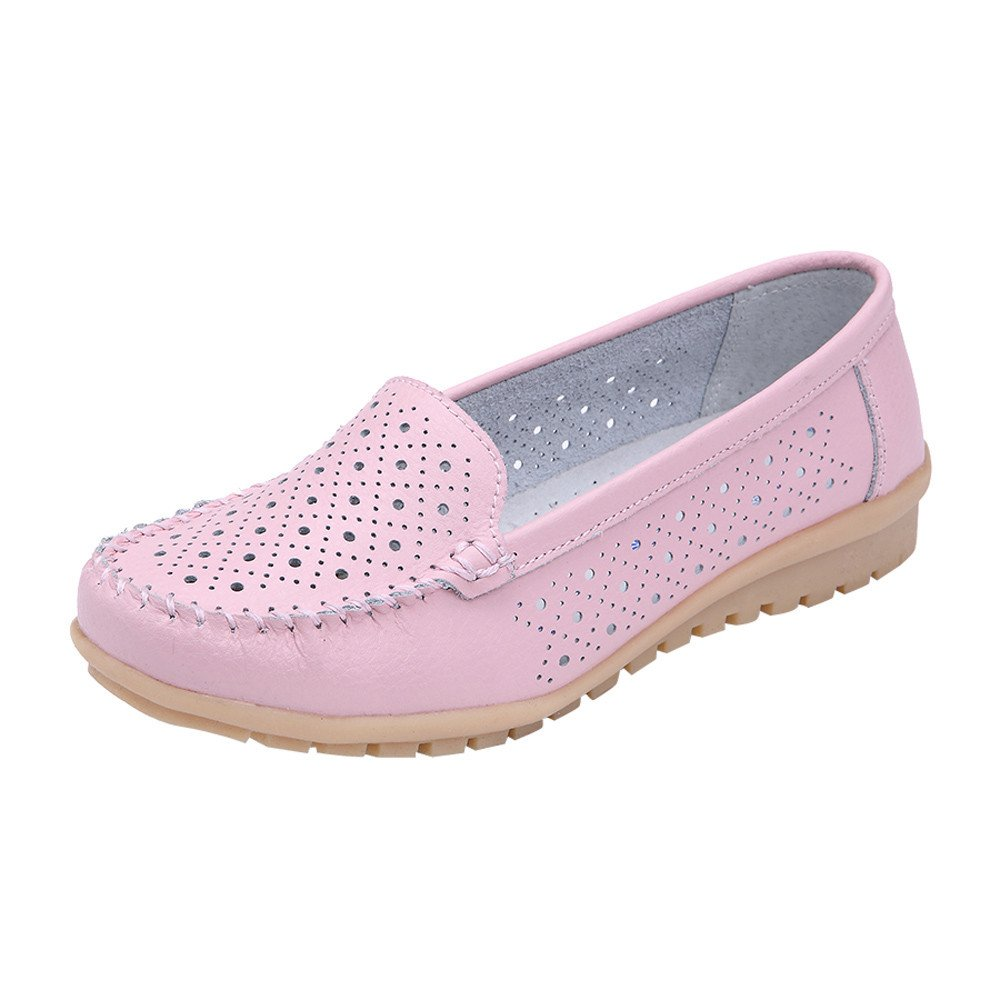 Loafers for Women Comfort,SMALLE◕‿◕ Women's Retro Slip-On Hollow Penny Loafers Shoes Dress Casual Driving Flat Shoes Pink