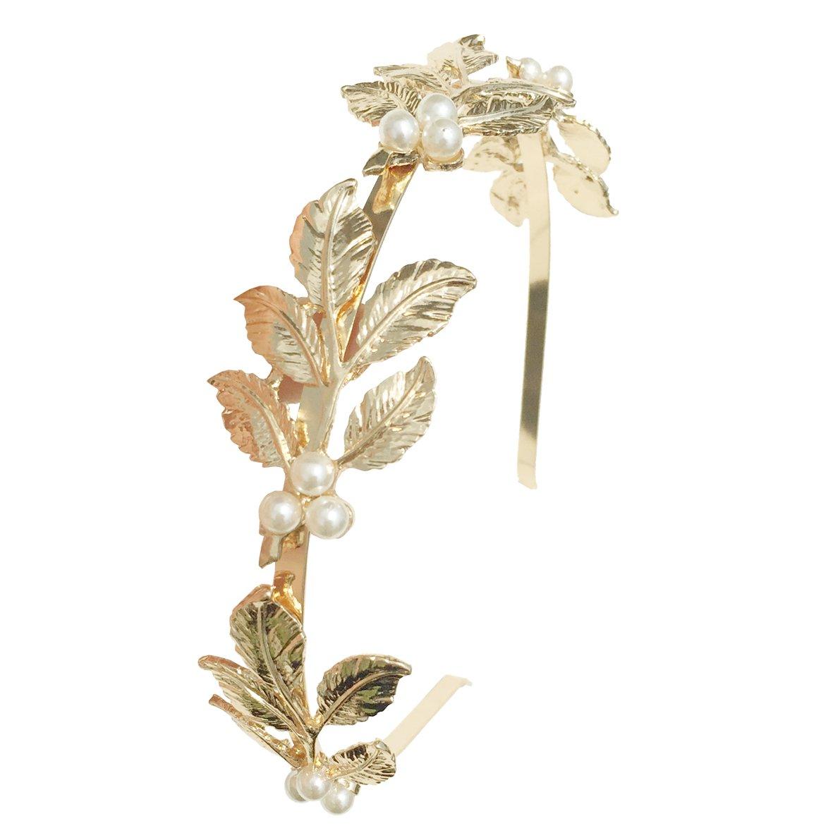 DRESHOW Roman Goddess Leaf Branch Dainty Bridal Hair Crown Head Dress Boho Alice Band, 2 pcs, Gold and Silver HB0008-3A