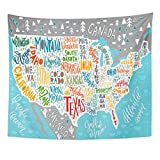 Emvency Tapestry USA Map States Pictorial Geographical of America Lettering Home Decor Wall Hanging for Living Room Bedroom Dorm 50x60 inches