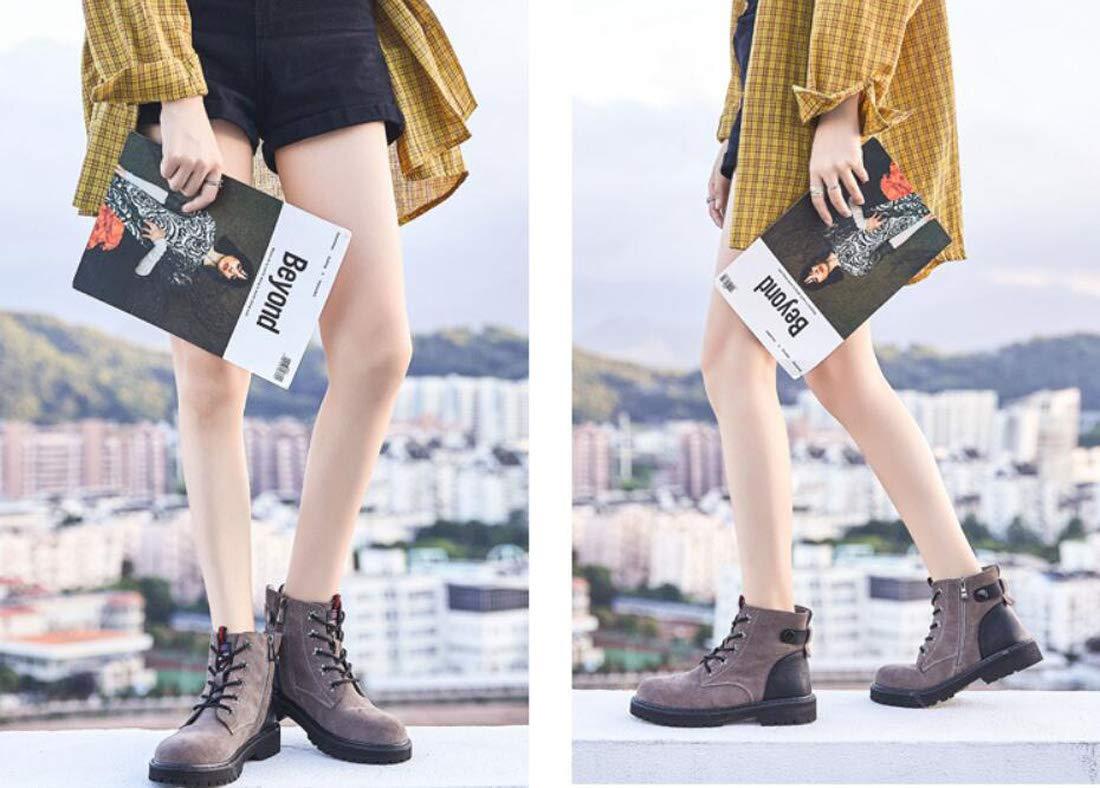 DANDANJIE Damenstiefel Britischer Stil Stil Stil Gefrostet Flache Ferse Martin Stiefel Stiefelies  030ad0
