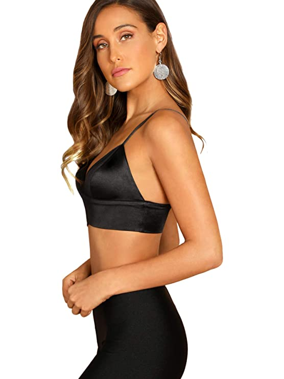 75e86c2a88 SheIn Women s Strappy Plain V Neck Vest Sexy Bralette Cami Crop Top at  Amazon Women s Clothing store