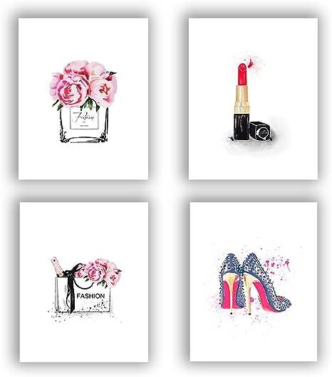 Heart Print Pink Grey Stylish Fashionable Print Female Living Room Poster Art