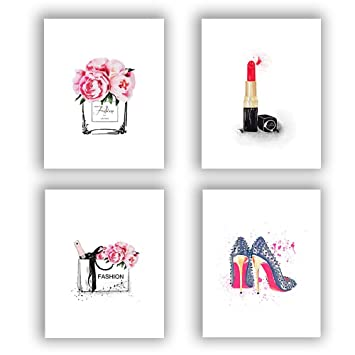 """0e2aa9d51f8e0 Fashion Women Art Print Set of 4 (10""""X8"""") Art Painting for Women  Gifts,Canvas Painting Perfume Handbags Lipstick Shoes Posters and Fashion  Prints Wall ..."""