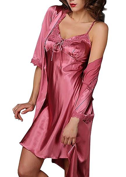 Aivtalk - Conjunto de Pijamas (Vestido+Bata) Seda Mujer Vestido del Encaje del