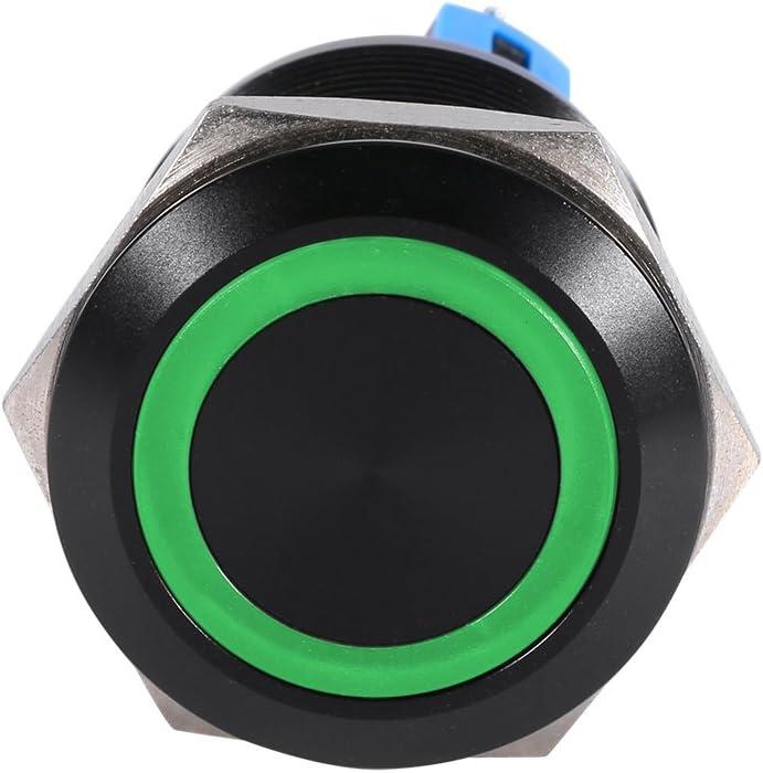 Interrupteur Keenso 22mm Bouton de D/émarrage Bouton de Verrouillage ON//OFF Commutateur Bouton-Poussoir Auto-Bloquant 12V Green