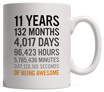 11th Birthday Gift 11 Eleven Years Old All Measures Of Being Awesome Anniversary Mug