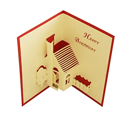 Amazon Com Happy Birthday Little House Pop Up Card Paper Craft For