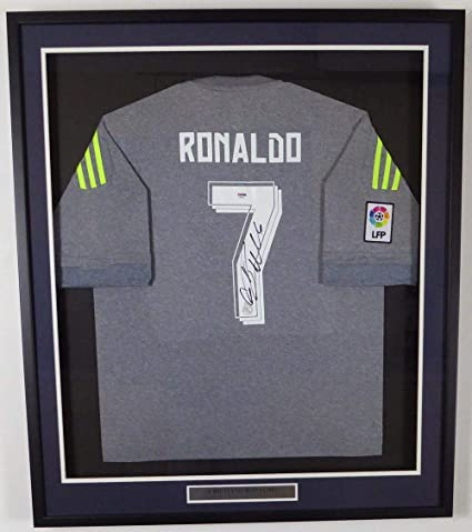 bea9d33ef54 Signed Cristiano Ronaldo Jersey - Framed Fly Emirates Adidas Grey Stock   131923 - PSA DNA Certified - Autographed Soccer Jerseys at Amazon s Sports  ...