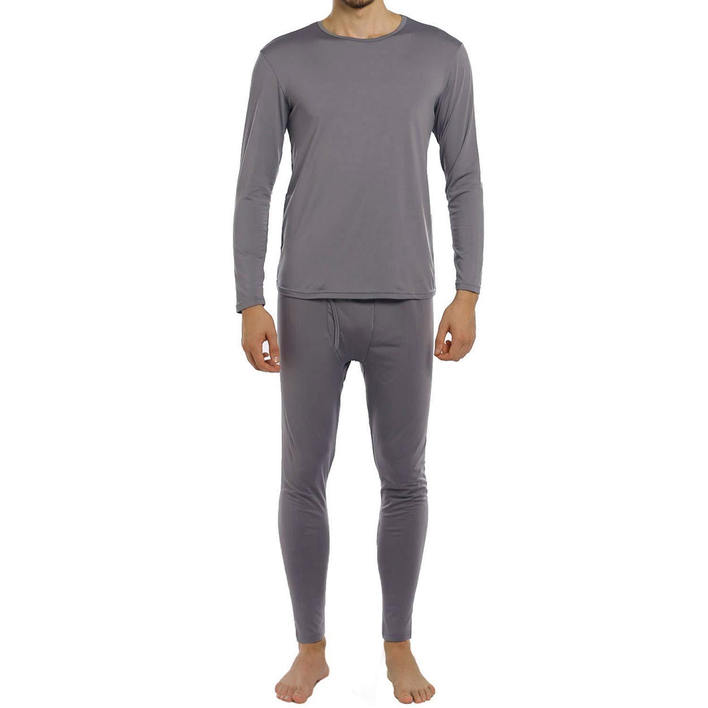 ViCherub Men's Thermal Underwear Set Fleece Lined Long Johns Winter Base Layer Top & Bottom 1 or 2 Sets for Men Grey by ViCherub