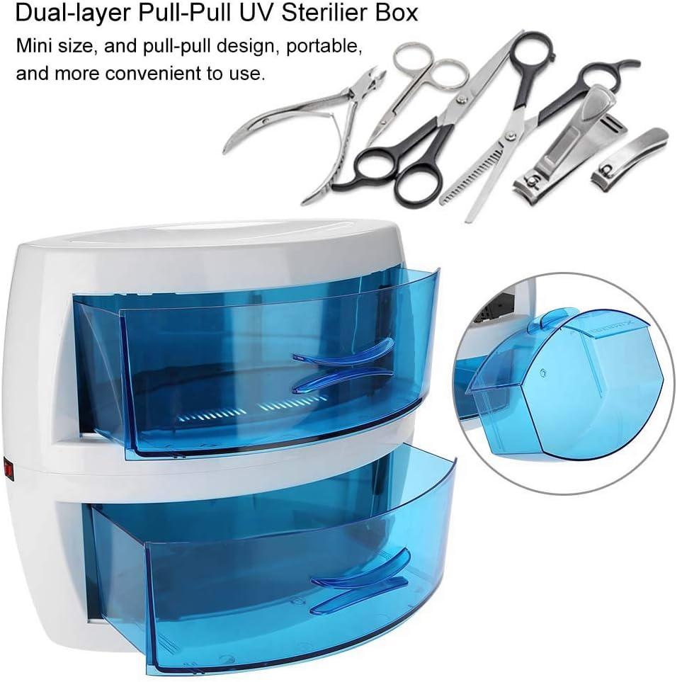 esterilizador con cajones azules de luz ultra violeta para todos los objetos y tapabocas