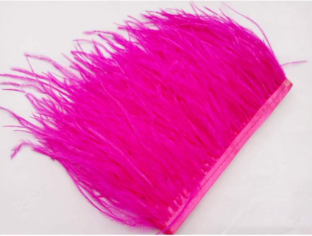 wanjin Ostrich Feathers Trims Fringe with Satin Ribbon Tape for Dress Sewing Crafts Costumes Decoration Pack of 2 Yards (Royal blue)