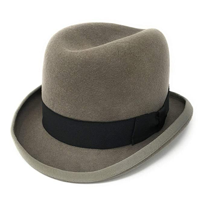 1920s Men's Fashion UK | Peaky Blinders Clothing Cotswold Country Hats Homburg Mens Hat - Brown Grey. Stiff Build Lined. Handmade from 100% Wool Felt. Small Medium Large Extra Large XX Large £36.95 AT vintagedancer.com