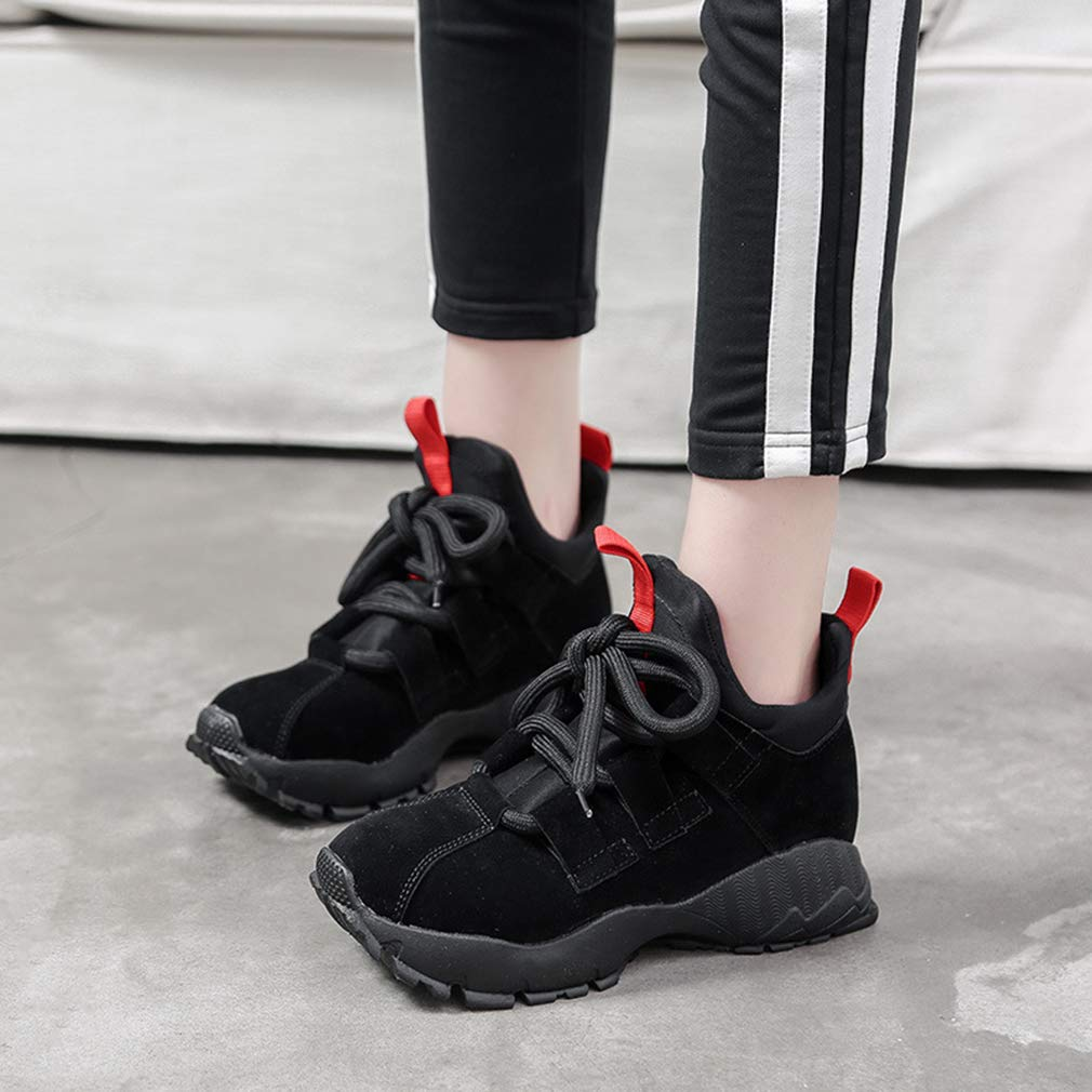 YXB Womens Fashion Shoes New Spring Suede Sports Shoes High-Top Sneakers Lace Up Platform Shoes Fitness /& Cross Training Shoes,Black,36