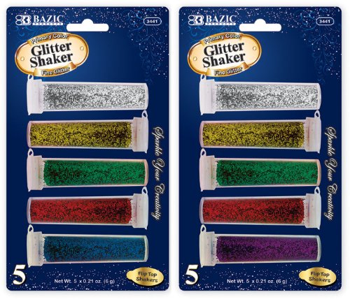 Bazic 6g/0.21 oz. 5 Primary Color Glitter Shaker 144 pcs sku# 1766740MA