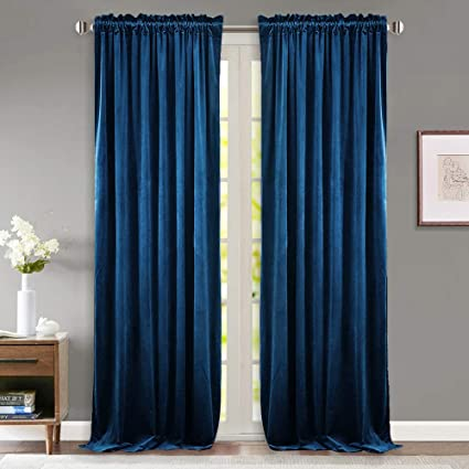 royal blue velvet curtains gray wall match stangh bedroom navy velvet curtains blackout light blocking sound lower privacy drapes with rod pocket luxury amazoncom