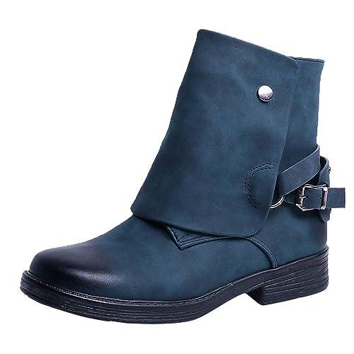 Botas Mujer Invierno-BOBOLover Vintage Ronda Toe PU Cuero Botines Cremallera Martin Botas Zapatos De