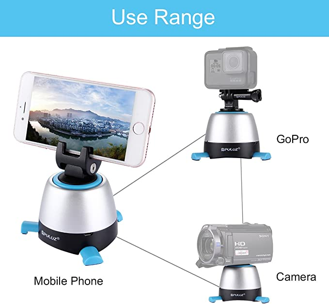 Action Camera Orange Loboo Idea 360 Degree Automatic Rotation Panoramic Tripod Head 2.2lb Electronic Remote Control Tripod Head for Smartphone Lightweight Camera and Camcorder Under 1kg