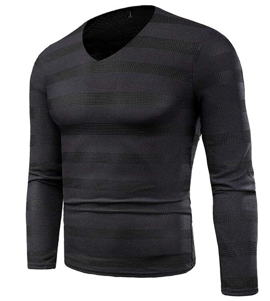 CRYYU Men Plus Size Long Sleeve V Neck Striped Knitted Pullover Sweater