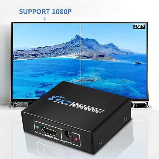 GHB HDMI Splitter 1 Entrada y 2 Salidas Full HD 1080p / 2160p 3D HDCP Fuente de Alimentación -Negro: Amazon.es: Electrónica