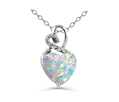 Sterling Silver Created Opal 18 Necklace