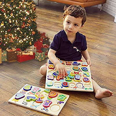 TOP BRIGHT Educational Toys for 1 Year Old Girl Boy Gifts Wooden Alphabet Puzzles for Toddlers (Pack of 2): Toys & Games